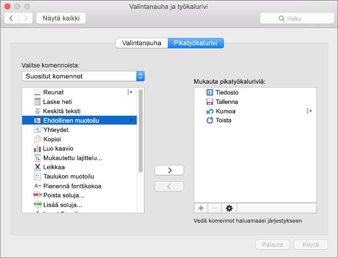 Office2016 for Macin Mukauta pikatyökaluriviä