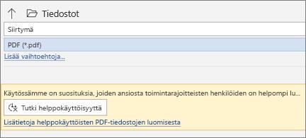 Tallenna PDF-tiedostona -valintaikkuna ja keltainen viestiruutu, joka pyytää sinua tarkistamaan PDF-tiedostosi helppokäyttöisyyden ennen tallentamista