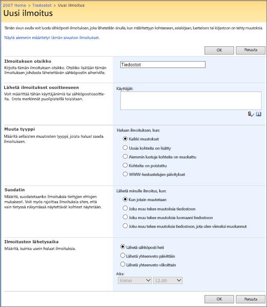 SharePoint 2007:n Ilmoitusasetukset-sivu
