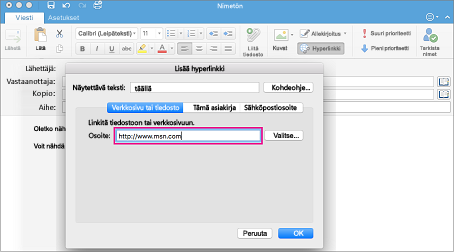 Hyperlinkki-valintataulu Outlook for Macissa