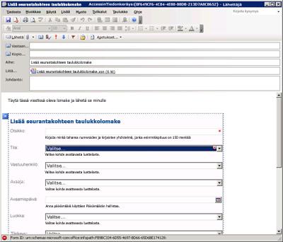 Tietojen kerääminen InfoPathilla