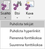 Sisältö-valikko Onetastic for OneNotessa