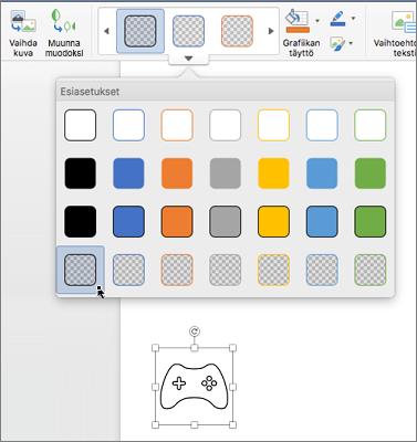 Kuvakkeen graafisen muotoilun muokkaaminen