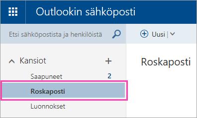 Näyttökuva Roskaposti-kansiosta