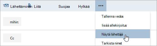 Näyttökuva Näytä lähettäjä -vaihtoehdosta.