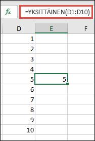 Esimerkki YKSITTÄINEN-funktiosta kaavalla =YKSITTÄINEN(D1:D10)