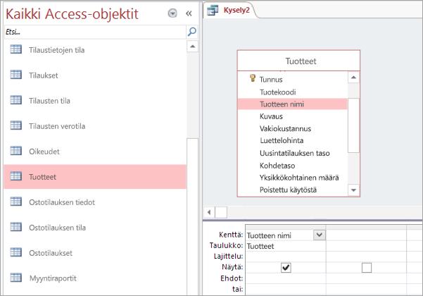 Näyttökuva Kaikki Access-objektit -näkymästä
