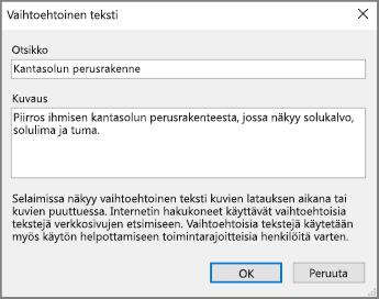 Näyttökuva  OneNoten Vaihtoehtoinen teksti -valintaikkunasta, joka sisältää esimerkkitekstiä Otsikko- ja Kuvaus-kentissä.