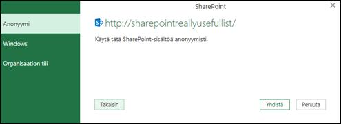 Excelin Power Query muodostaa yhteyden Sharepoint-luettelon Yhdistä-valintaikkunaan
