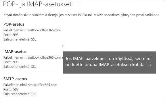 Linkki POP- tai IMAP-käytön asetuksiin