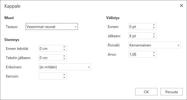 Näyttökuva Kappale-valintaikkunasta, jossa näkyvät Yleiset, Sisennys ja Välistys-asetukset.