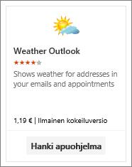 Näyttökuva Outlookin Sää-apuohjelmasta, joka on käytettävissä maksuttomana kokeiluversiona tai maksullisena versiona.