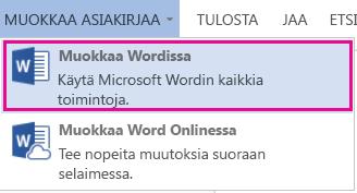 Näyttökuva Word Onlinesta, jossa on Muokkaa Wordissa -vaihtoehto valittuna
