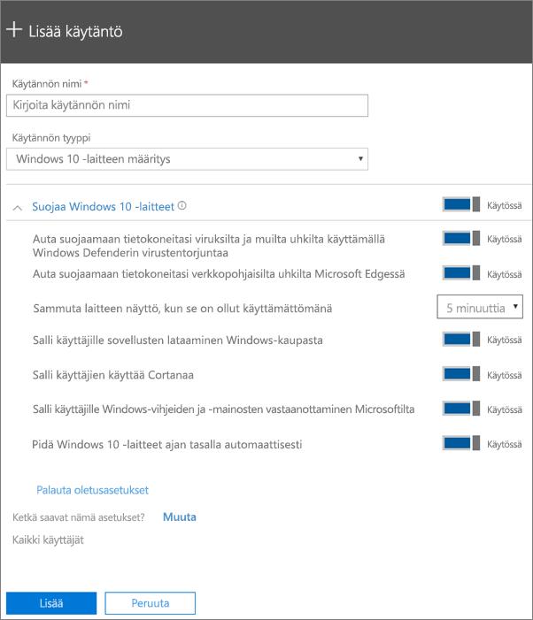 Lisää käytäntö -ruutu, jossa on Windows 10 -laitemääritys valittuna
