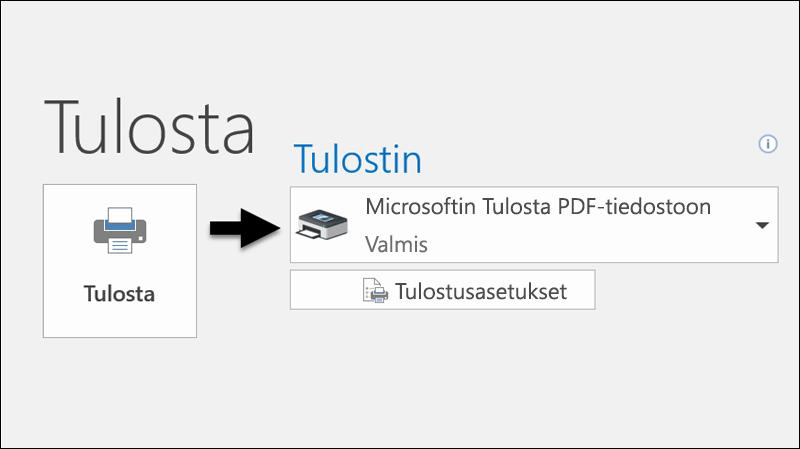 Tulosta sähköposti PDF-tiedostoon Tulosta-komennolla.