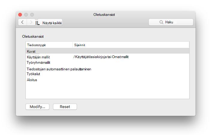 näyttökuva: Microsoft Wordista tiedoston sijainnit asetukset-ruutu