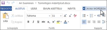 Koko Office-sovelluksen avaaminen Office Onlinen käyttämisen sijaan