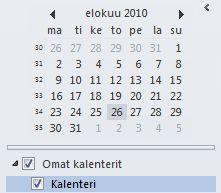 Kalenterin siirtymisruudun päiväyskaavio