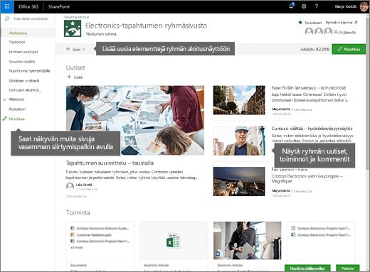 SharePoint Onlinen ryhmäsivuston aloitussivun
