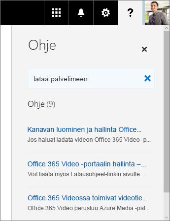 Näyttökuva Office 365 Videon ohjeruudusta, jossa on näkyvissä latauksen hakutulokset.