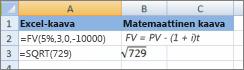 Excel-kaavat ja niitä vastaavat matemaattiset kaavat
