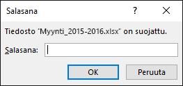 Salattu tiedosto on lukittu salasanalla