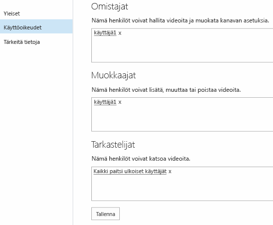 Office 365 Video -käyttöoikeudet