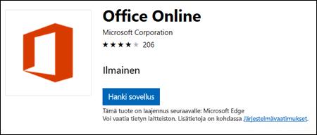 Office Online -laajennussivu Microsoft Storessa