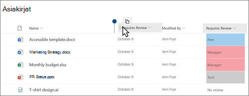 Modernin SharePoint Online-näkymän tiedosto Kirjasto, jossa näkyy, että sarake vedetään paikasta toiseen