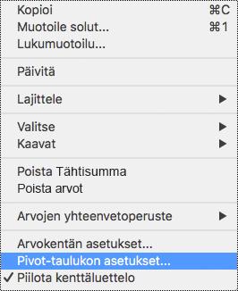 Pivot-taulukon asetukset Excel for Macin pikavalikossa.