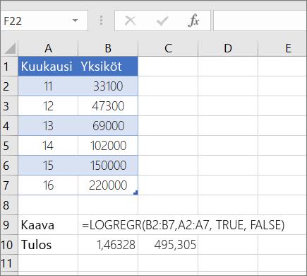 Esimerkki 1– LOGEST-funktio
