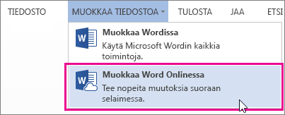 Kuva Muokkaa Word Onlinessa -komennosta