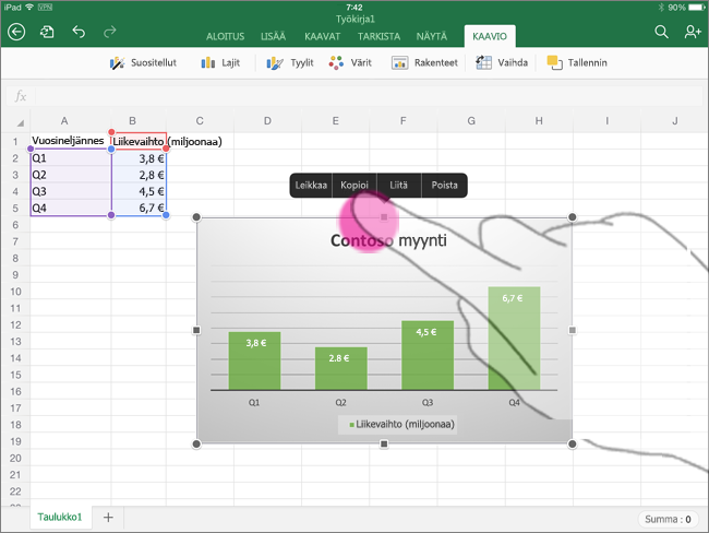 Kaavion kopioiminen Excel for iPadista