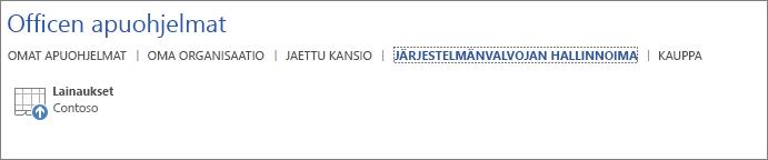 Näyttökuvassa näkyy Office-sovelluksessa Officen apuohjelmat -sivun Järjestelmänvalvojan hallinnoima -välilehti. Välilehdessä näkyy Lainaukset-apuohjelma.