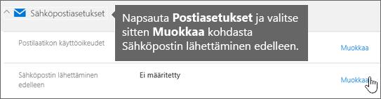 Valitse Postiasetukset ja valitse sitten Muokkaa.