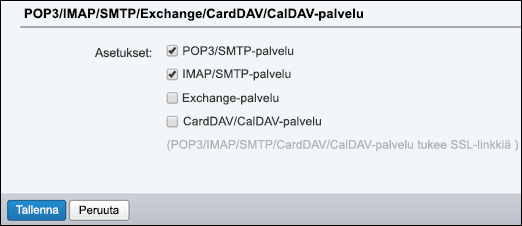 Valitse POP3/SMTP ja IMAP/SMTP.