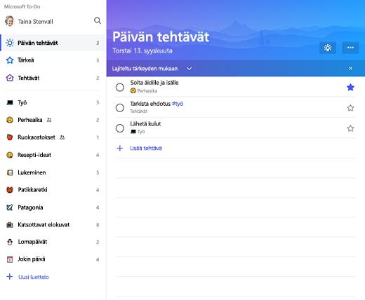 Näyttökuva, jossa näkyy luettelon sivupalkki ja Päivän tehtävät -luettelo Microsoft To-Dossa