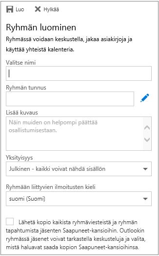 Ryhmän luominen yrityksille tarkoitetussa Outlookin verkkoversion kalenterissa