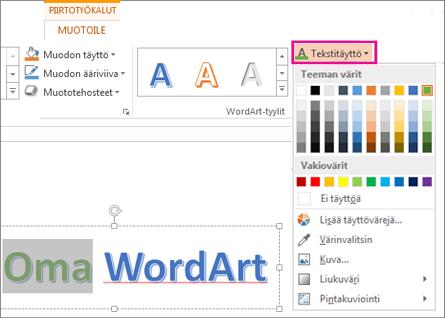 Piirtotyökalut – Muotoile -välilehden Tekstitäyttö-kohdan värivalikoima
