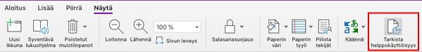 OneNote for Mac-sovelluksen Helppokäyttötyökalun valinta