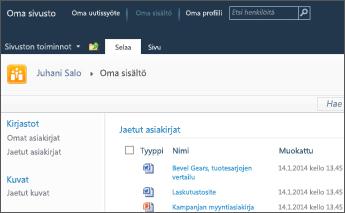 SharePoint 2010:n oma sivusto
