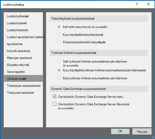 Ulkoisen sisällön asetukset Excel Valvontakeskuksessa