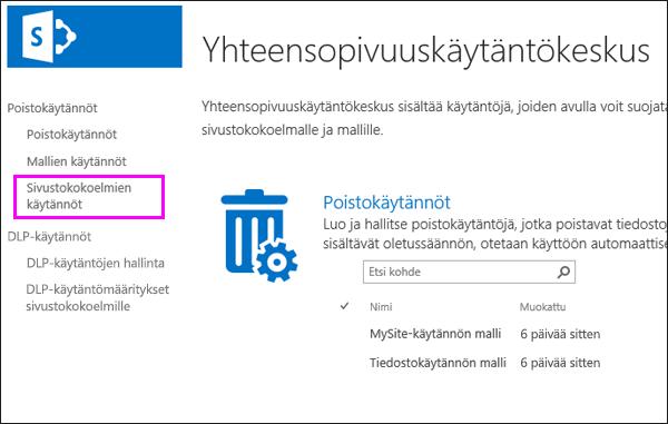 Käytäntömääritykset sivustokokoelmille -linkki