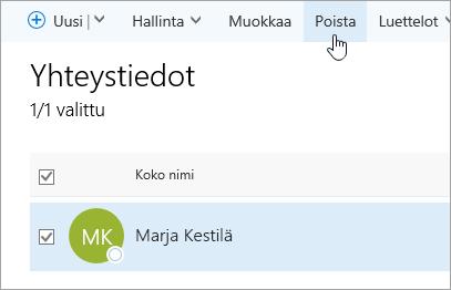 Näyttökuva Henkilöt-sivun Poista-painikkeesta.