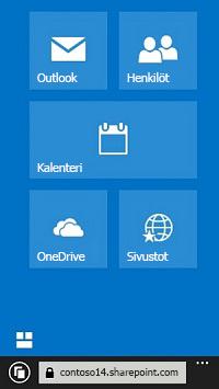 Käytä Office 365:n siirtymisruudukkoa sivustoihin, kirjastoihin ja sähköpostiin siirtymiseen