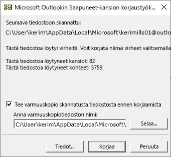 Näyttää skannatusta Outlookin .pst-datatiedostosta Microsoftin Saapuneet-kansion korjaustyökalulla (SCANPST.EXE) saadut tulokset