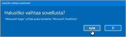 Office 365: n Vaihda sovelluksia kehote
