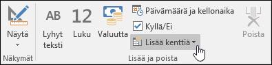 Näyttökuva Lisää ja poista -ryhmästä valintanauhan Kentät-välilehdessä.