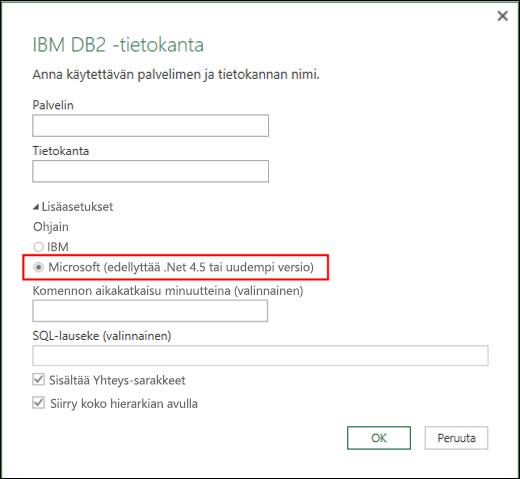 Excelin Power BI IBM DB2 -tietokannan yhdistinvalintaikkuna