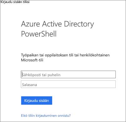 Anna Azure Active Directoryn järjestelmänvalvojan tunnistetiedot